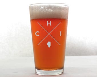 Chicago Pint Glass | Chicago Glass - Beer Glass - Pint Glass - Beer Glasses - Pint Glasses - Beer Mug - Chicago - Gift for Dad