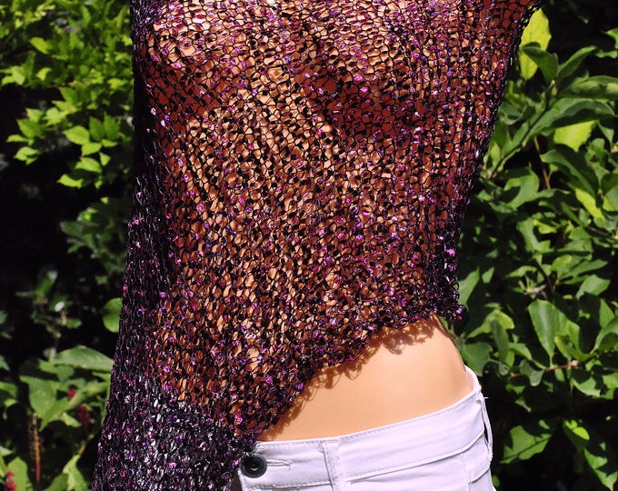 Loose knit Women's poncho, Open weave poncho, Summer knit Shrug, Summer knit wear, Beach cover up, Shiny Purple assymetrical womens wrap