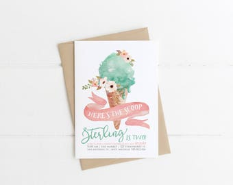 Ice Cream Birthday Invitation, Here's the Scoop, Ice Cream Cone Social, Girl 1st Bday Party Invite, Printable Pink & Mint, 2nd, 3rd, 4th 5th