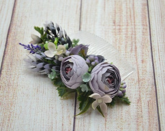 Gift/for/bridesmaid Dusty purple flower comb Wedding hair comb Bridal hair accessories Wedding comb Flower headpiece Bridal fascinator