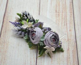 Gift/for/bridesmaid Dusty purple flower comb Wedding hair comb Bridal hair accessories Wedding comb Flower headpiece Bridal fascinator