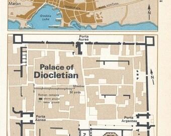 1969 Split Croatia & Palace of Diocletian Vintage Map