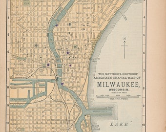 1893 Milwaukee Wisconsin Antique Map