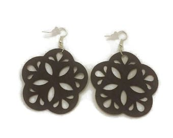 Leather Earrings, Cut Out Design, 2 inch long Brown Leather Earrings on silver plate earring wires