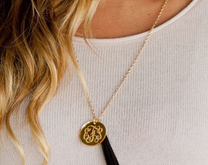 Engraved Monogram Necklace with Suede Tassel- 30 inch Gold Chain- Greek Letter Monogram Necklace with Tassel,Personalized Tassel Necklace