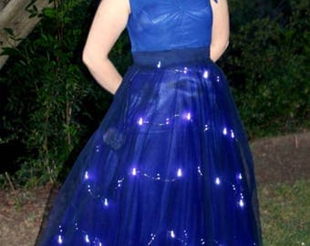 Hayley Modest Prom Dress - Blue Prom Dress - Modest Formal - Prom Dress with Sleeves - Starry Night Dress - Light Up Gown - Glowing Dress
