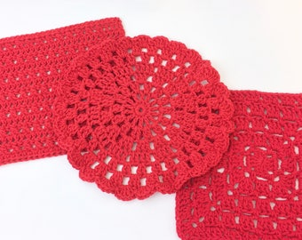 Red Dishcloths Sampler Set - PiF - Cotton Dischloths - Crocheted Waschloths - Pay it Forward