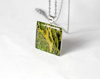 Green necklace for gift pendant Moss jewelry sister necklace terrarium jewelry Square necklace coworker gift Olive necklace Square pendant