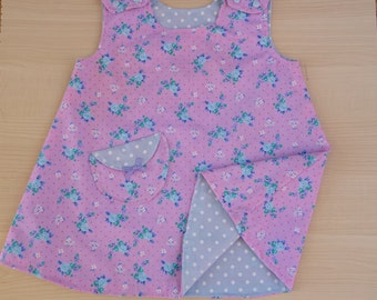 Pink and Lilac Flower Reversible Girl's Dress. A Line.