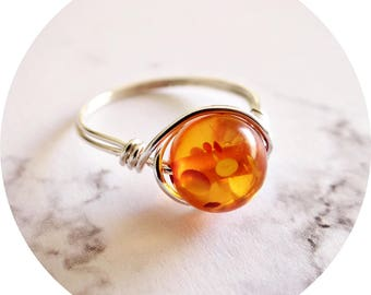 Amber Ring, Gemstone Ring, Amber Jewelry, Handmade Jewellery, Amber Silver Ring, Amber Silver Jewelry, Wire Wrapped Ring, Silver Wrap Ring
