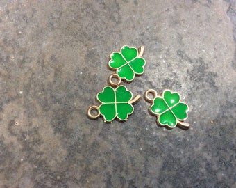 Four Leaf Clover charms with green enamel detail pack of 3 Irish charms Good luck charms Antique Gold Clover Charms