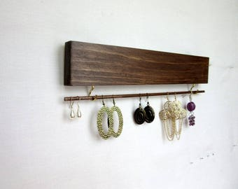Earring Wall Holder, 12 in. or 16 in., Earring Organizer, Dangle Earring Storage, Jewelry Organizer,  Many Colors