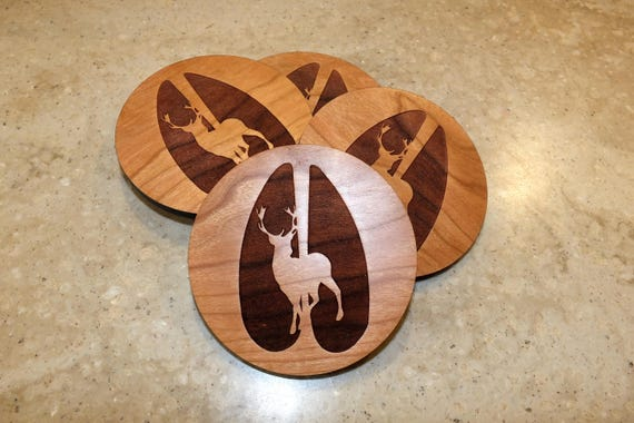 Wooden Deer Coasters with Buck Engraved on Maple or Cherry Wood. Home Decor-Housewarming Gift-Bar Decor-Living Room-Patio-Mancave