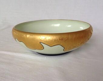 Art Deco Gilt and Embossed Ceramic Bowl