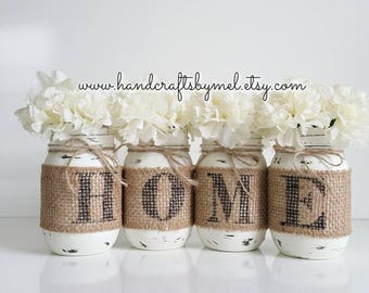 Country Home Decor, Farmhouse Mason Jars, Painted Burlap Mason Jars, Rustic  Table Decor