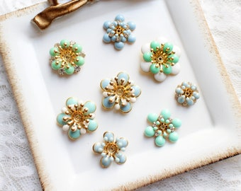 8 Assorted Mix Lot Rhinestone Blue Green Flat back flower embellishment button/Craft Supplies/Wedding Jewerly/Accessories