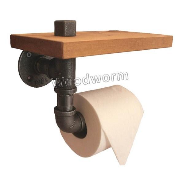 support de rouleau de papier toilette avec tag re fer. Black Bedroom Furniture Sets. Home Design Ideas