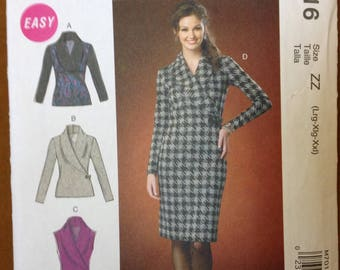 McCalls 7016 - Mock Wrap, Shawl Collar Pullover Top or Dress for Stretch Knits - Size L XL XXL