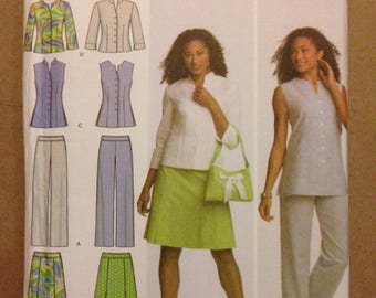 Simplicity 4695 Spring Wardrobe Separates Shirt, Tunic Straight Leg Pants, Skirt with Pleats and Bag - Size 16 18 20 22