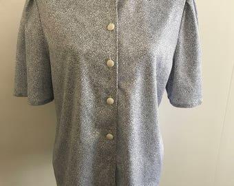 Vintage 80s blue white spot blouse top