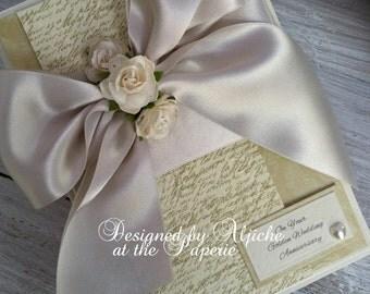 Golden Wedding Card, Handmade Anniversary, Wedding, Engagement, 50th Anniversary, Personalized