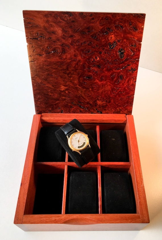 Decorative Wooden Boxes Australia : Wooden watch box australian rare dark jarrah burl