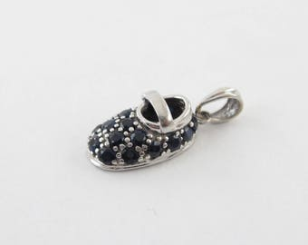 14k White Gold Sapphire Baby Shoe Charm Pendant - Natural Sapphires