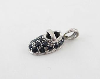 14k White Gold Sapphire Baby Shoe Charm Pendant