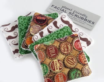 Face Scrubbies - Terry Cloth Facial Cleanser Wipes - Set of 6 - Manly Moustache