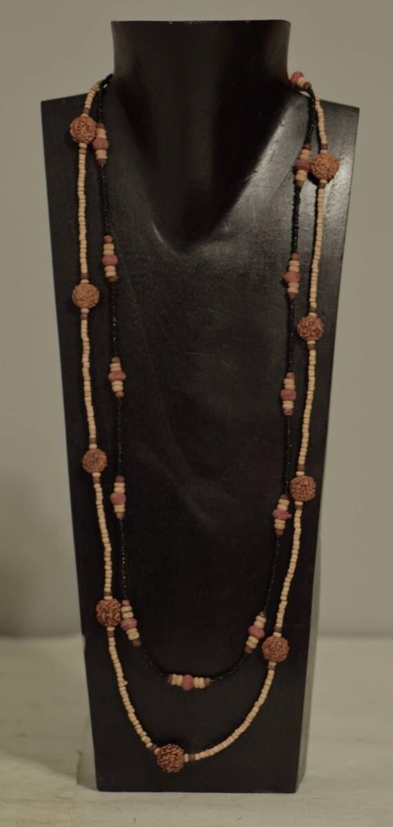 Necklace Long Double Strand Coconut Heishi Beads Prayer Nut Handmade Jewelry India Prayer Nut Beads  Wood Bead Necklace