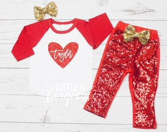 Girls Valentines Day Outfit, 1st Valentines Outfit, Girls First Valentine Raglan, 1st Valentines Day, Baby Girl Valentines Outfit, Valentine