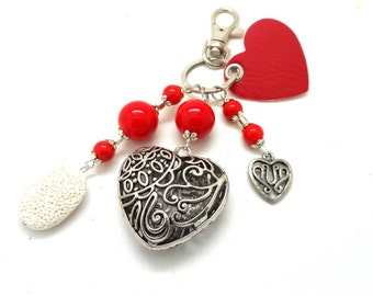 A scent! Silver bag charm, heart red beads charms charms and co.