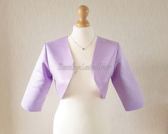 Lilac Satin Bolero / Shrug / Cropped Jacket Fully Lined - UK 4-26/US 1-22 3/4 Sleeves - Formal/Wedding/Bridal