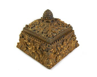 Ornate Vintage Gold Trinket Box, Ornate Trinket Box, Gold Rococo Style Box, Rococo Decor, Gold Jewellery Box, Gold Christmas Gift for Her