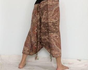Touch Soft Silk..Light Brown Soft Silk Harem Pants with Leaf patterned (HR-594)