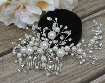 FAST Shipping!!! Silver Bridal Hair Comb with Pearls, Wedding Hair Comb, Crystal Hair Comb, Swarovski Hair Comb, Hair Comb