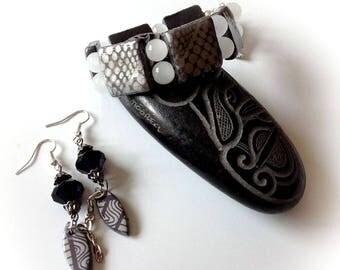 Set, bracelet, earrings, polymer, grey, silver.