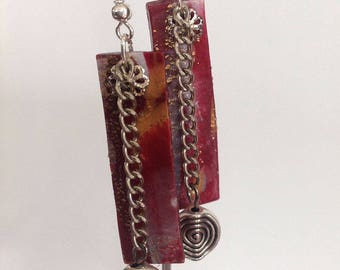 Earrings, rectangular, polymer clay, red.