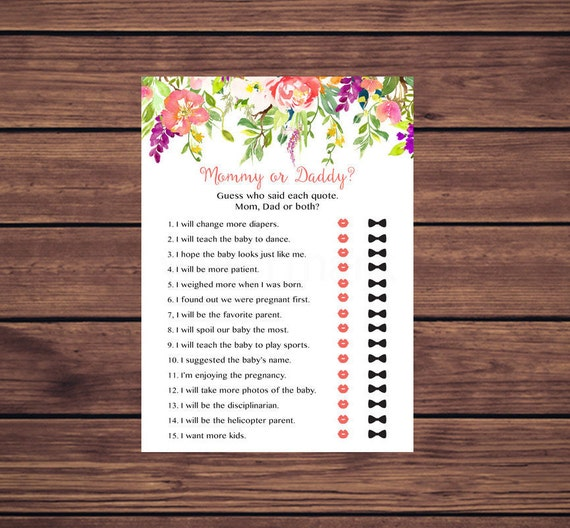 Mommy Or Daddy Baby Shower Game Coral Pink Floral Baby Shower Mommy