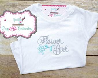 Flower Girl Shirt, Flower Girl T-Shirt, Personalized Shirt, Custom Shirt, Embroidery Shirt, Girl's Embroidered Shirt,