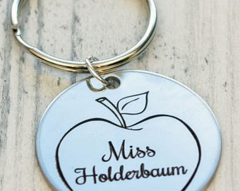 Teachers Apple Personalized Key Chain - Engraved