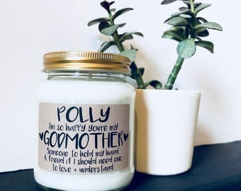 Personalised 'I'm So Happy You're My Godmother' Scented Candle , Godmother gift , Godfather gift , thank you Godmother , Christening gift