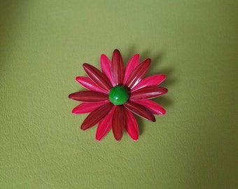 Vintage Daisy Pin - 1960's Enamel Brooch - 2 Tone Red Petals - Lime Green Center - Mod