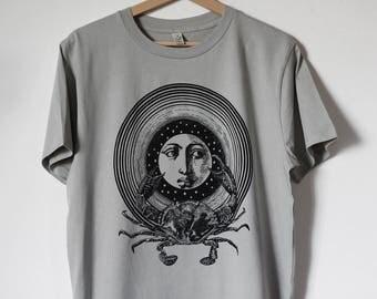 men's shirt, crab shirt, moon tshirt, men's tee shirt, crab print, crab t-shirt for man, steampunk shirt, printed t-shirt, boyfriend shirt