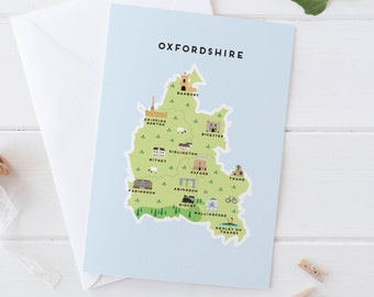 Oxfordshire Map Greetings Card