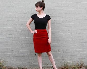 Vintage 1960s Red Velvet Skirt / Velvet Pencil Skirt / Wiggle Skirt / High Waist / XS