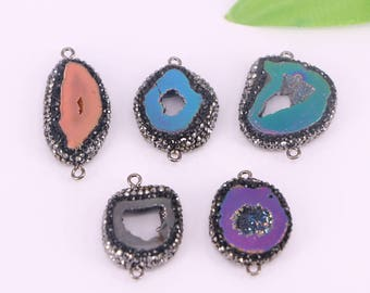 5Pcs Natural Crystal Quartz Titanium Mix Druzy Geode Slice Connector Bead,with Black Crystal Rhinestone Bead, For Jewelry Making