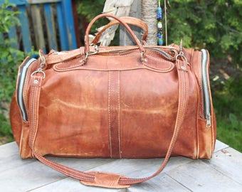Vintage Lex Piel Brown Leather Duffel Bag/ Leather Duffel Carry On/ Brown Leather Carry On Bag/ Leather Travel Bag/ Leather Shoulder Bag