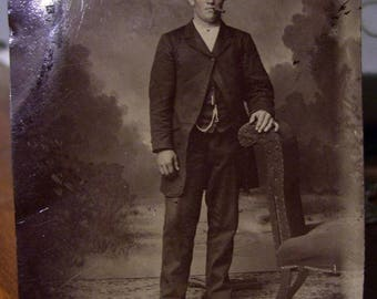 Antique Tintype Photo Young Man With A Cigar 2-1/2 x 3-3/8 inches