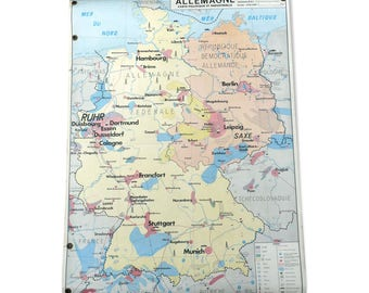 School poster vintage Germany - GDR edition MDI map / / Magic' chip / old geography map.